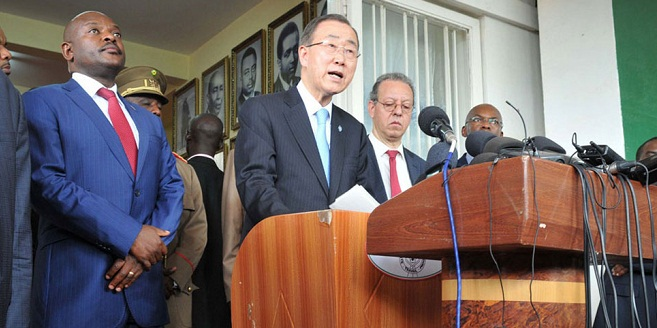 The UN's Ban Ki Moon and Nkurunzinza after one of many peace visits by world leaders to Burundi. UN PHOTO