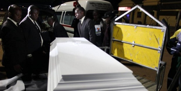 The casket carrying Abel Dhaira's remains from Iceland arrived on Sunday morning at Entebbe International Airport. PHOTO BY FUFA