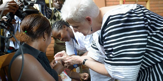 US Ambassador Deborah Malac administers a vaccine last week. COURTESY PHOTOS