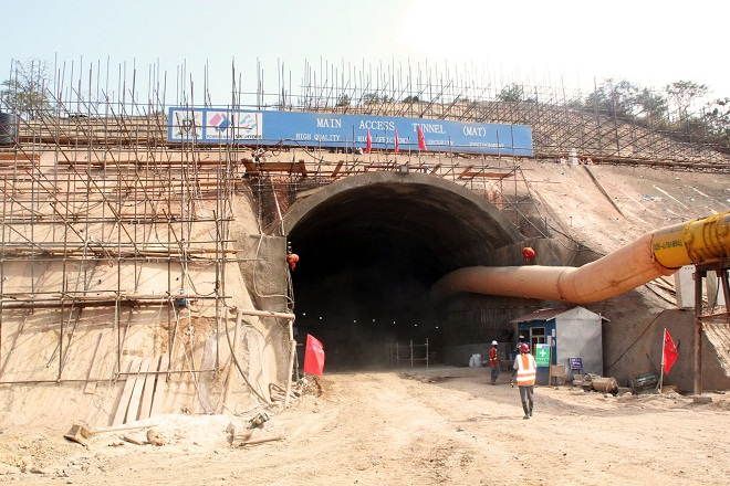 Entrance to one of the two main access tunnels running 1.3km underground.
