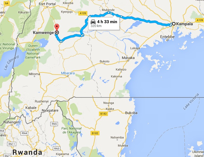 Location of Kamwenge in Western Uganda