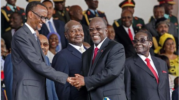 Magufuli congratulated by Kagame at the swearing in last year. Magufuli drives to Rwanda today.