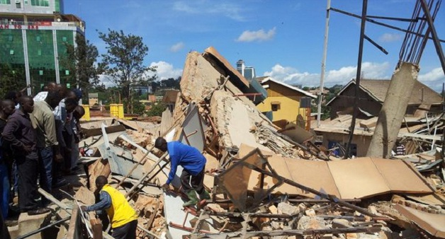 A building, Kyaseka Towers on Makerere Hill Road collapsed today. In the background is Ham Towers. PHOTO VIA @walugembeshajad