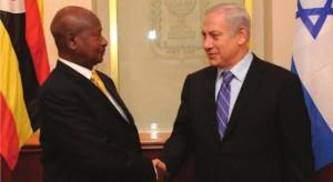 President Yoweri Museveni shakes hands with Benjamin Netanyahu, Israel's Prime Minister, during a recent visit to Tel Aviv. NET PHOTO