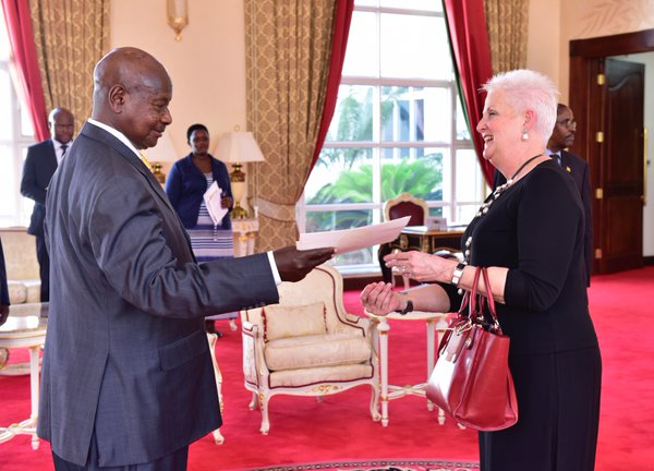 PHOTOS25 US ambassador Malac when she gave her credentials to museveni
