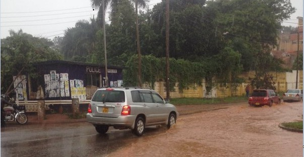 A flooded section on a road in Kampala. PHOTOS VIA @primagaba