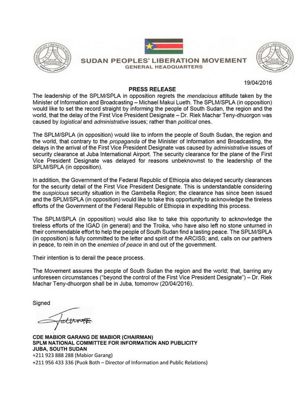 SPLA SPLM STATMENT April 19 2016