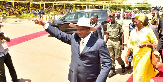 Museveni arrives at Kololo. PHOTOS BY PPU