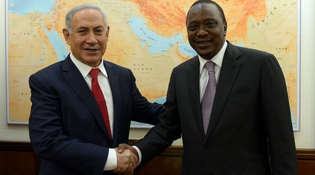 Uhuru Kenyatta and Netanyahu during the Kenyan president's visit to Israel last month.