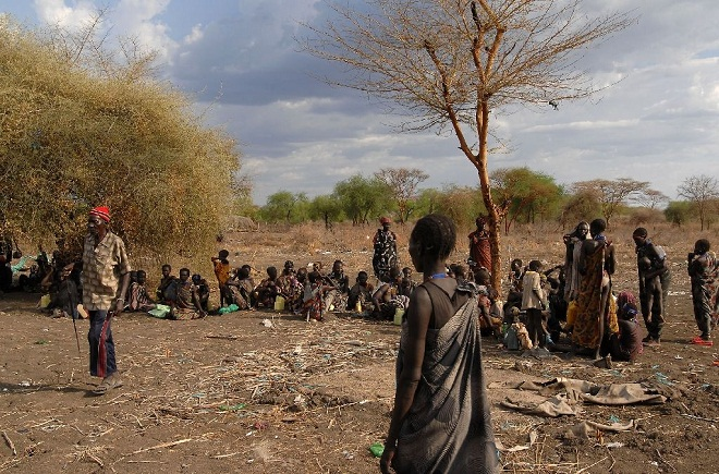 Internally displaced people of the Murle tribe wait to receive World Food Programme food rations. PHOTO AFP