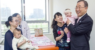 Secretary-General Ban Ki-moon (right) attends the opening of the Shanghai Municipal Centre for Maternal and Child Health. Other than birth rates, China now has to worry about mental health. WHO PHOTO
