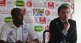 Micho (right) was joined by FUFA press chief Ahmed as Cranes squad was named. PHOTO BY FUFA