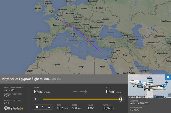 FlightRadar24 image of EgyptAir flight route before it went down in the sea