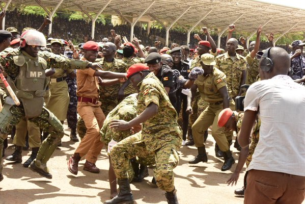 Different forces dance to Tubonge Nawe songs at Kololo today. PHOTOS VIA @LindahNabusayi