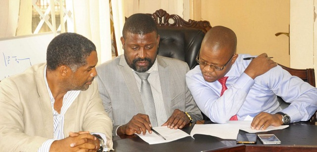 UOC president Blick (left), FUFA VP Mbidde (middle) and Magogo (right) at the press briefing on Thursday. PHOTO BY FUFA