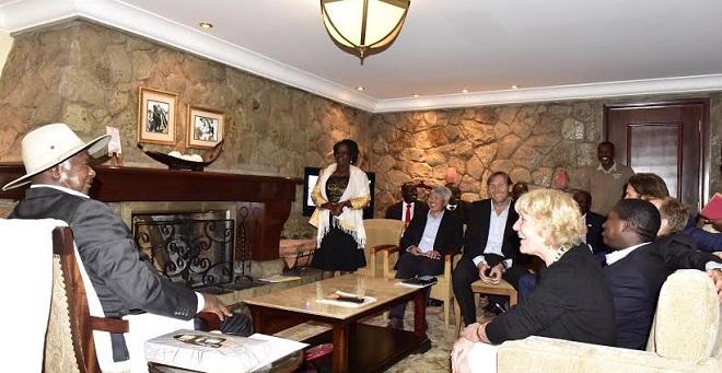 President Museveni (left) at a meeting between Ugandan tourism officials and investors in Nairobi. PHOTOS PPU