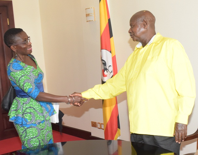 Museveni welcomes IMG's Antoinette Sayeh. PHOTO BY PPU