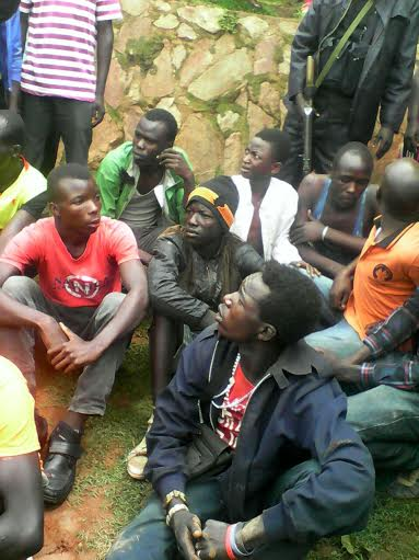 Some of the youth captured in the operation today. PHOTO BY CHARLOTTE NINSIIMA