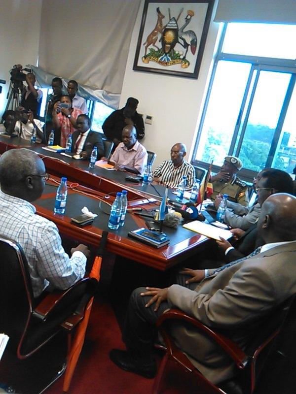 The press conference called by minister Muhwezi. PHOTO via @pkwesiga