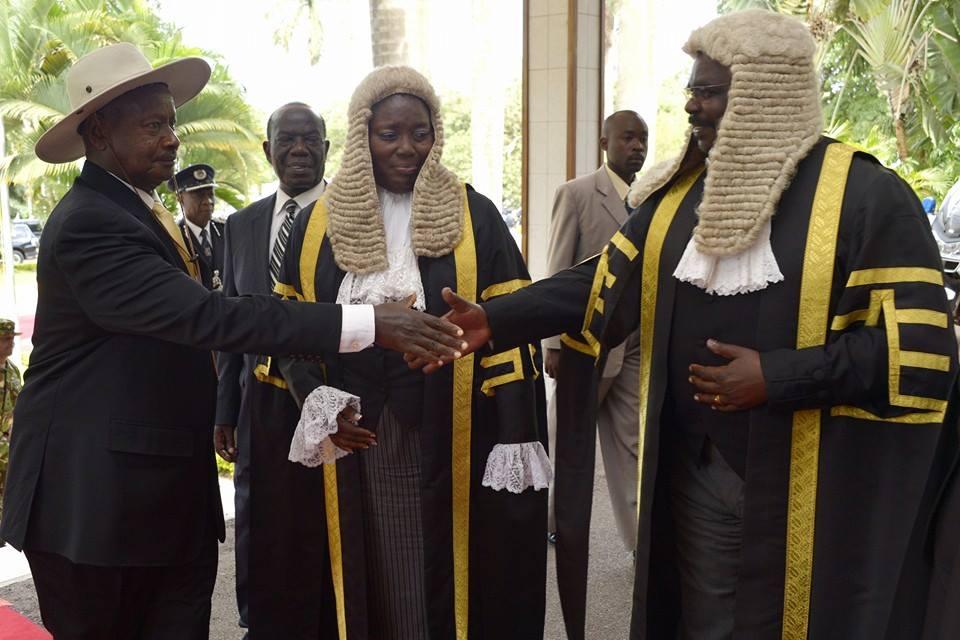 Museveni greets Oulanya and Kadaga. (File photo)