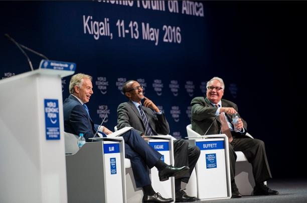 President Kagame, alongside Tony Blair and Howard Buffett . COURTESY PHOTOS