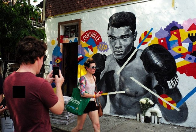 A mural of the late boxer Muhammad Ali is seen in New York on June 4, 2016. PHOTO AFP