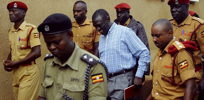 Besigye arrives at Nakawa court for an earlier hearing. The Chief Magistrate Nakawa ruled that case should be heard in court not Luzira prison. FILE PHOTO AFP