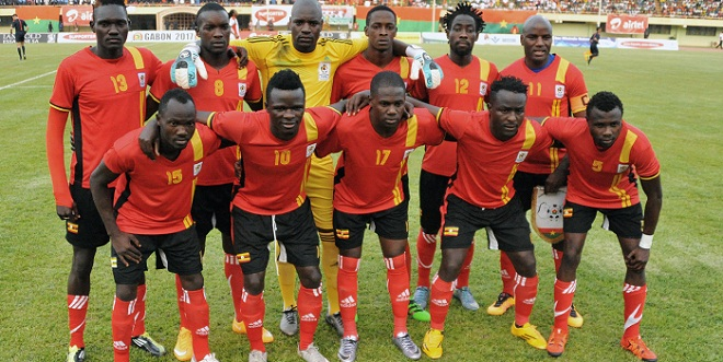 Uganda's national football team players pose prior to the 2017 African Cup of Nations qualification football match between Burkina Faso and Uganda, on March 26, 2016, at the Stade du 4 aout stadium in Ouagadougou. / AFP / AHMED OUOBA
