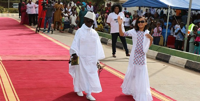 A children show of the Gambian leader and his wife