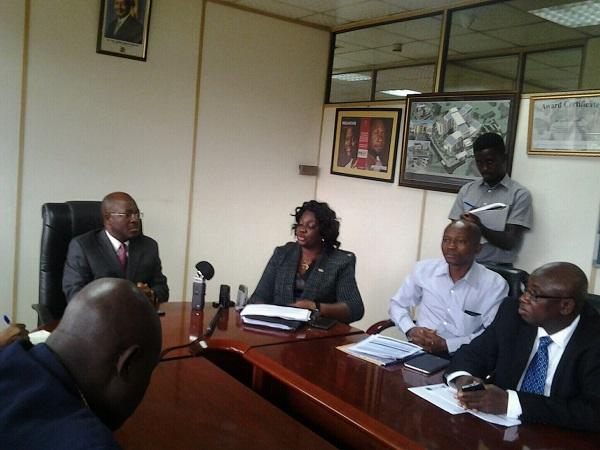 Mbonye (left) receives the West African delegation led by deputy minister Madino Rahman. PHOTO CHARLOTTE NINSIIMA