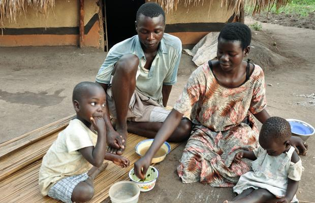 Meal time at a Ugandan home. Poverty levels still worrying. WORLD VISION PHOTO