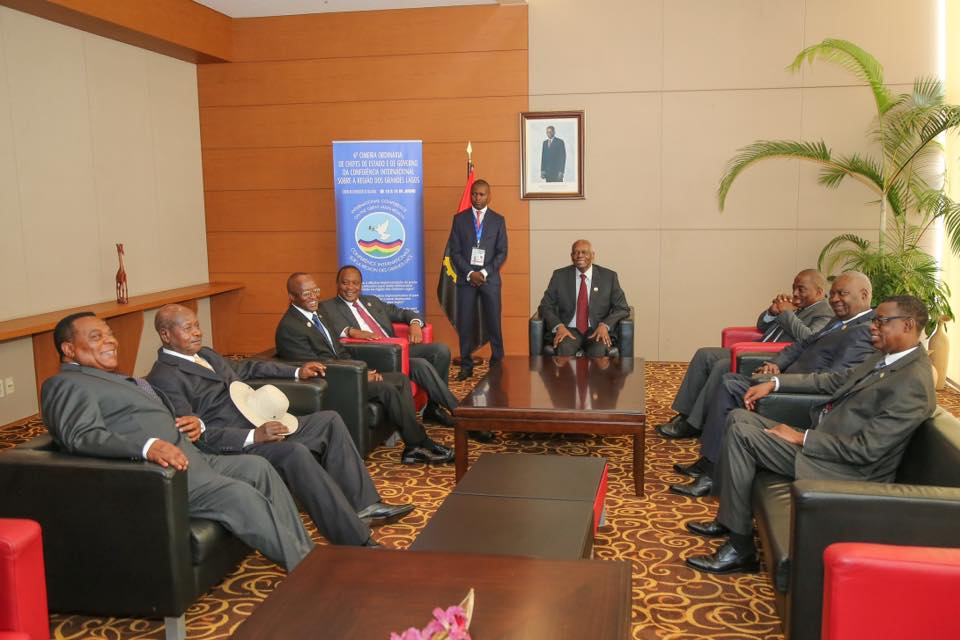 ICGLR leaders in a pre-summit discussion. The one-day Summit ended Tuesday in Angola
