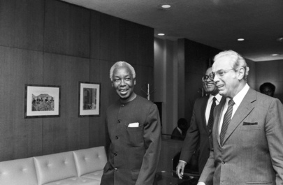 FILE photo of Nyerere and UN Secretary-General Javier Perez de Cuellar (right) .