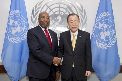 Secretary-General Ban Ki-moon (right) meets with Ruhakana Rugunda, Prime Minister of the Republic of Uganda. 09 June 2016