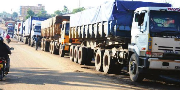 Transit trucks crossing Malaba boarder to Uganda. PHOTO JIMMY SIYA