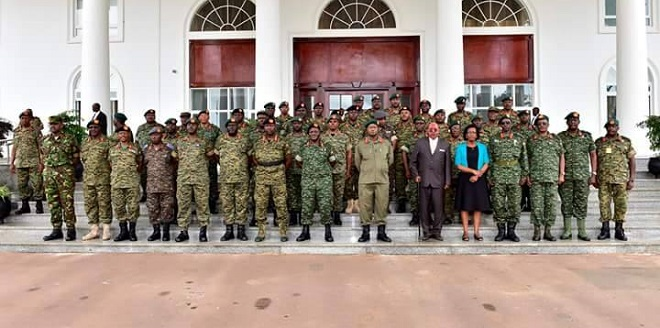 The UPDF High Command after a recent meeting. A decision taken to get our of CAR.