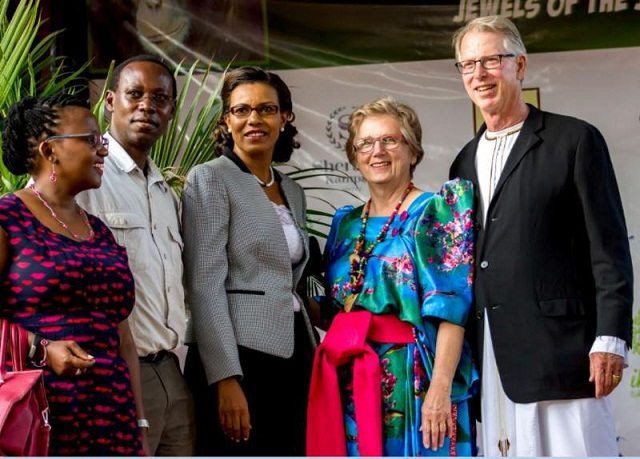 From left; Mrs & Mr Taga Nuwagaba (Artist), Lilly Ajarova,Executive Director Chimpanzee Trust and Barbara & Lewis Hollweg (US photographer)