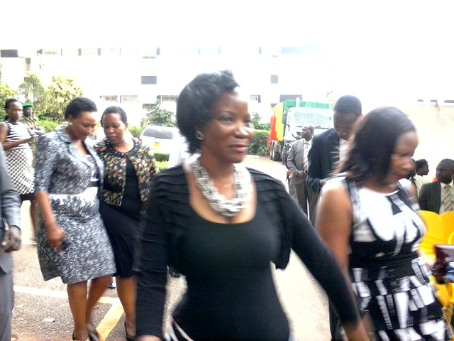KCCA Executive Director Jeniffer Musisi arrives for the swearing-in ceremony. Photo credit: @SolomonKaweesa1