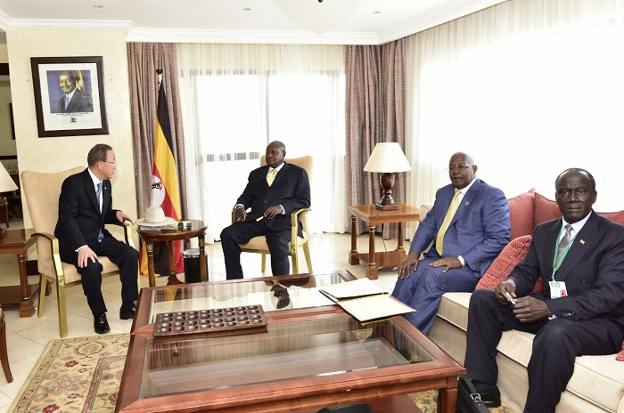 Ban Ki Moon (left) and Museveni meet in Kigali. They were joined by Foreign Affairs minister Sam Kutesa. PPU PHOTOS