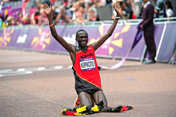 Kiprotich celebrates his gold in 2012
