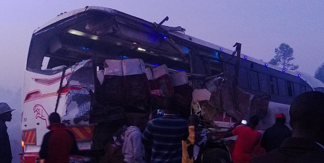 One of the buses involved in the Masaka accident on Sunday. PHOTO VIA @DennisAdel