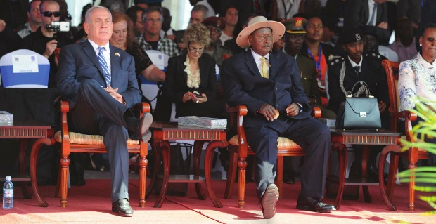 Israeli Prime Minister Benjamin Netanyahu and President Yoweri Museveni at Entebbe International Airport on the 40th anniversary of the Entebbe raid. INDEPENDENT / JIMMY SIYA