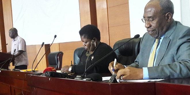 Rugunda and NRM SG Lumumba address the press Friday