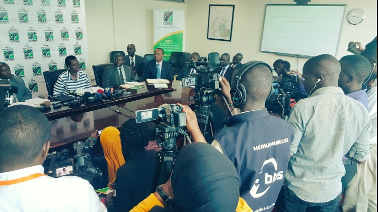 Kagina talks to the press Thursday in Kampala. PHOTO UNRA