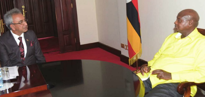 The UK Prime Ministers Trade Envoy to Uganda, Lord Dolar Amarshi Popat meets with President Yoweri Museveni on June 22 at State House Entebbe