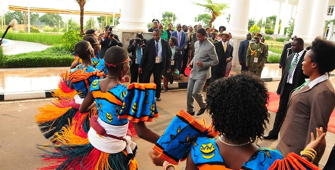 Lungu dances when he was in Uganda early this year.