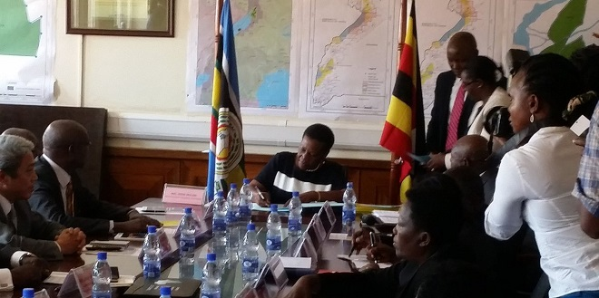 Energy miniser Muloni signs protocols to oil and gas production licences in Kampala August 30. PHOTOS VIA @micoh