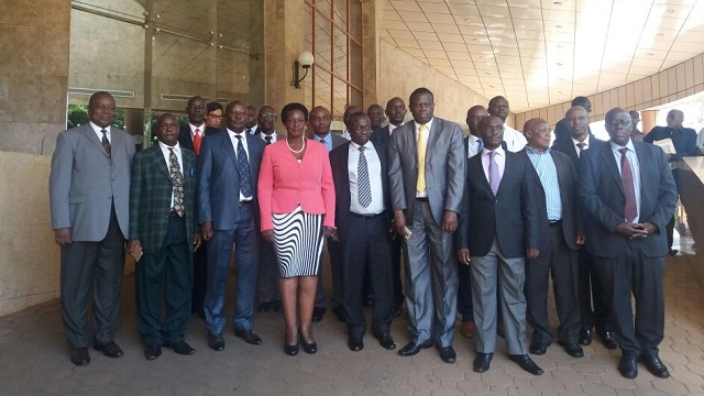 Minister Kyambadde and officials of the Ministry of Trade at a sector convention Tuesday. PHOTO Godfrey Ssali