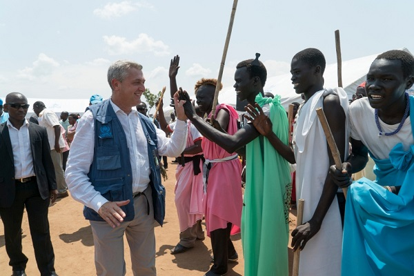 United Nations High Commissioner for Refugees Filippo Grandi meets South Sudanese refugees at Pagirinya refugee settlement in Adjumani, Uganda. UNHCR PHOTO