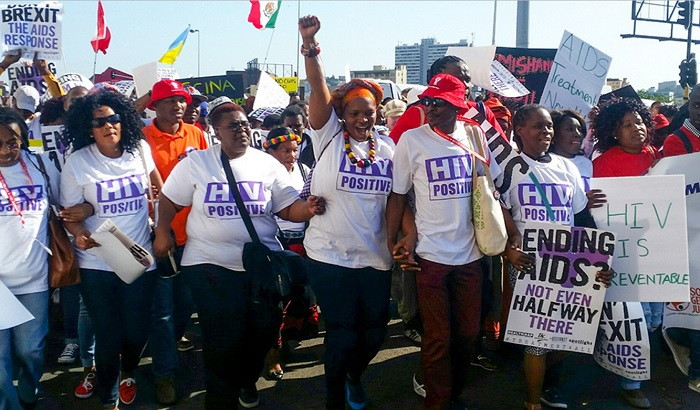 Demonstrators at this year's AIDS conference in Durban. World leaders meet this weekend to raise more anti-AIDS money.